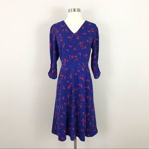 Ann Taylor 10 Petite Dress Blue Floral